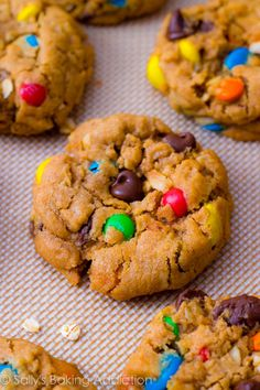 Quick and easy Soft-Baked Monster (peanut butter oatmeal m&m) Cookies | sallysbakingaddiction.com