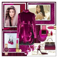 """Red-Violet"" by frenchfriesblackmg ❤ liked on Polyvore featuring Elizabeth Arden, Shin Choi, Deborah Lippmann, French Connection, Surratt, Fendi, Brian Atwood, Yves Saint Laurent, Alessandra Rich and Michael Kors"