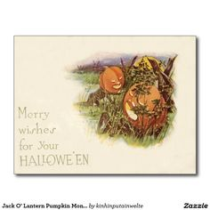 Jack O' Lantern Pumpkin Monster Full Moon Postcard
