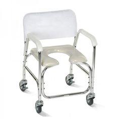 Silla para Ducha y WC Asiento en U. Pensada para ofrecer la máxima comodidad a usuario y cuidador, esta silla de ducha será de gran ayuda en el aseo diario. Con su apertura U y su altura óptima, podemos colocarla sobre el inodoro. Tiene cuatro ruedas y está fabricada en aluminio. Soporta 100kg.