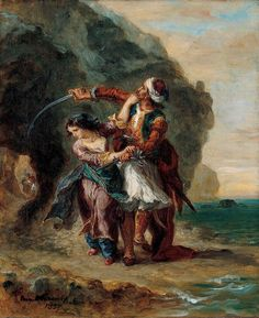 """This painting is inspired by Lord Byron's poem """"The Bride of Abydos."""" Set in the Dardanelles of Turkey, the poem relates the tragic fate of Zuleika, the daughter of the Pasha Giaffir, and her lover, the pirate Selim. 