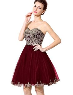 c9fa7249ee42 Sarahbridal Seniors Mine Homecoming Dress Applique Beaded Cocktail Party  Gowns Burgundy US8 -- Click for