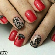 """Red nails with black """"lace"""" accent nail"""
