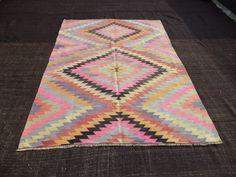 "Turkish Pink Kilim Rug,8""x5,7"" Feet  242x170 Cm Pastel Modern Zigzag Pattern Turkish Vintage Kilim Rug,Tribal Kilim Rug,Nomadic Kilim Rug."