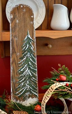 Don't throw away those old ceiling fan blades. Turn them into fabulous hand-painted wooden Christmas signs. It's an easy holiday craft. Wooden Christmas Decorations, Christmas Wood Crafts, Christmas Tree Painting, Christmas Tree Crafts, Whimsical Christmas, Christmas Signs, Rustic Christmas, Painted Christmas Tree, Holiday Crafts