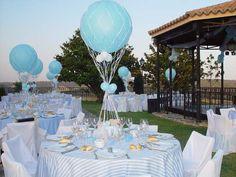Ambientaciones en celeste y blanco con globos!!!
