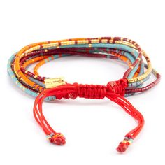 Red Mix Multi Strand Bracelet on Red Cord - Chan Luu