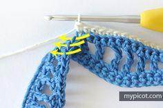 Crochet Wave Stitch.  MyPicot   Free crochet patterns