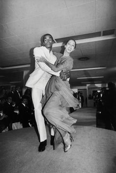 Cleveland, right, dancing along the runway with Sterling St. Jacques, a fellow model, during a fashion show in Credit Robin Platzer/Time & Life Twiggy, African American Models, African Models, Coming Out Party, St Jacques, Shall We Dance, V Magazine, My Black Is Beautiful, Beautiful People