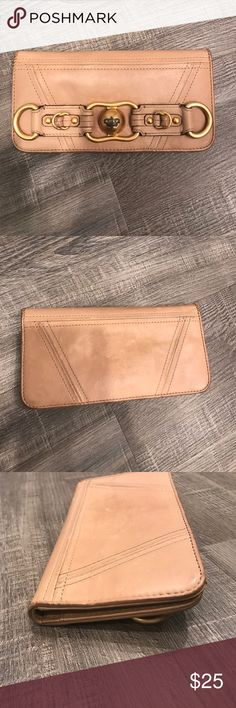 Juicy Couture Wallet Distressed beige juicy Couture Waller with gold hardware, some markings on inside and outside, used Juicy Couture Bags Wallets
