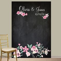 Personalized Love Blooms Photo Booth Backdrop