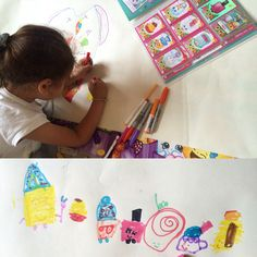 This little artist is having lots of fun drawing Shopkins.  #shopkins #art #drawing #creative #kid #fun #activity #happy #pens #colouring #draw #picture
