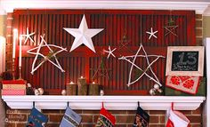 On the mantle - Twig stars embellished with a few pretty beads & sprigs of fresh rosemary. They're hung on a repurposed set of old shutters. Christmas Mantels, Christmas Holidays, Christmas Crafts, Christmas Ideas, Star Decorations, Christmas Decorations, Holiday Decor, Summer Mantel, Old Shutters