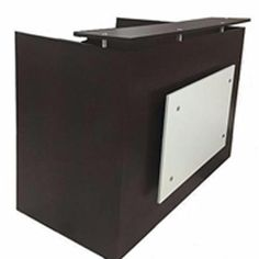 DFS Reception desk shell which fits a monitor - W by D by H Espresso and White front (Pack of Brown Commercial Office Furniture, Modern Reception Desk, Reception Desk Design, Craftsman Desks, Modern Craftsman, Modular Office, Work Station Desk, Dental Office Design, Receptions