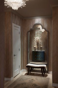 Chicago Based Design Firm James Thomas Uses A Large Wendy Mirror To Open Up This Hallway