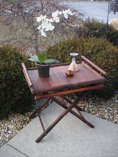 Extra Large And Fabulous Vintage Bamboo Tray Table.