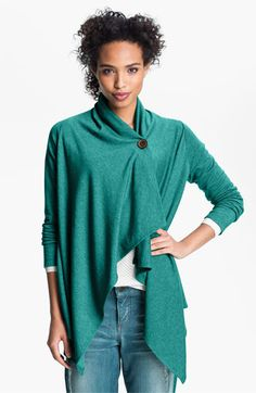 Bobeau Asymmetrical Fleece Wrap Cardigan | Nordstrom