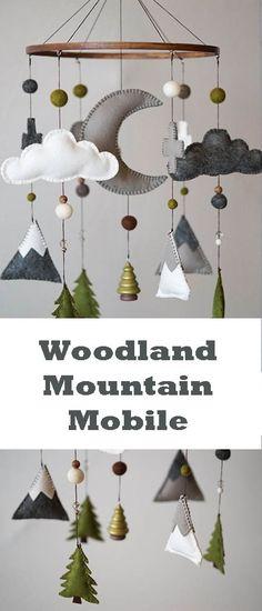 Woodland Nursery / Felt Mobile / Mountain Nursery / Felt Moon / Gray White Green / Nursery Decor / Cross / Monochrome / Scandinavian Decor #affiliate #babyboy