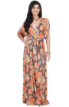 f1274e20ccea5 KOH KOH Womens Long Bohemian Boho Short Sleeve Summer Flowy V-Neck Casual  Print Printed Sun Sundresses Maternity Gown Gowns Maxi Dress Dresses, ...