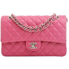 Preowned Chanel Fuchsia Pink Quilted Lambskin Medium Classic Double... (10,975 BAM) ❤ liked on Polyvore featuring bags, handbags, pink, chanel, pink quilted handbag, pink quilted purse, lambskin purse and quilted handbags