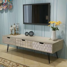 Wall TV Retro Stand Wooden Entertainment Console Table Furniture Gray: End Date: Grey Furniture, Table Furniture, Living Room Furniture, Home Furniture, Furniture Cleaning, Retro Sideboard, Sideboard Cabinet, Media Cabinet, Cabinet Drawers
