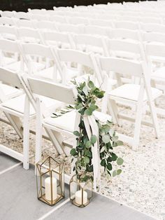 Lantern aisle decor, greenery // ceremony, chair, white, outdoor, romantic, classic, clean
