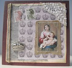 French inspired card with original stamps