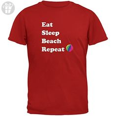 Eat Sleep Beach Repeat Red Adult T-Shirt - X-Large (*Amazon Partner-Link)
