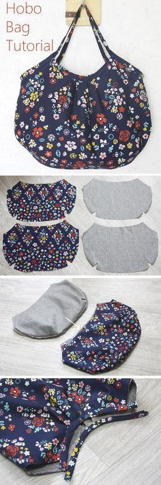 Reversible Hobo Tote Bag. How to sew DIY Picture Tutorial. http://www.handmadiya.com/2015/11/hobo-bag-tutorial.html