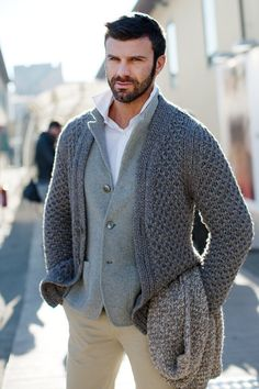 "beardedmeninknittedthings: "" a cardigan over a jacket? that's just crazy """