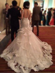 Wedding gown by Indonesian designer Melta Tan Dream Wedding Dresses, Bridal Dresses, Wedding Gowns, Flower Girl Dresses, Lace Wedding, Mermaid Wedding, Wedding Music, Wedding Attire, Beautiful Gowns