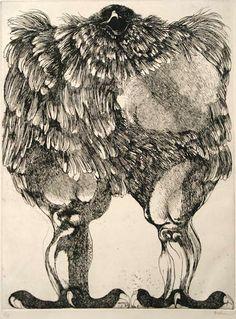 Leonard Baskin, Birds of Prey  Visit www.CANVASSED.com to see (or purchase) original works and rare prints by Leonard Baskin.  http://canvassed.com/artists/details/leonard-baskin
