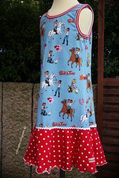 #Trägerkleid nach #Klimperklein, Stoff #Bibi-und-Tina von #Stoffe-Hemmers in Gr.140
