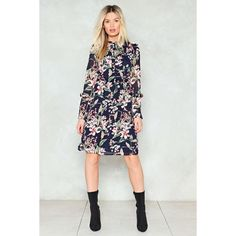 Nasty Gal It's Flor-All or Nothing Shirt Dress (3.455 RUB) ❤ liked on Polyvore featuring dresses, navy, navy dress, navy blue chiffon dress, navy chiffon dress, neck ties and navy shirt dress