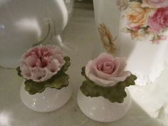 White with pink rose and carnation salt and pepper