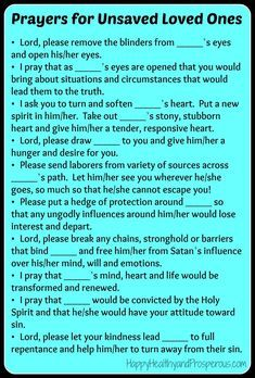 Prayers for Unsaved Loved Ones...learn more about how/what to pray and what to expect