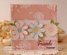 Inspired by Stamping Daisies stamp set, daisy car, 5x5 card, shabby chic card, CAS card