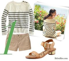 The art of accessorizing from Helenhou.com-Breton stripe top with khaki shorts and Gold Heel Sandals  Caroline Issa