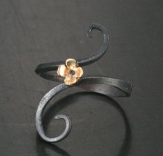 Ironwerx Floral Ring - Oxidized Sterling Silver Accented with a 14K Gold Flower - Unique and Elegant Buttercup Ring - Floral Pattern Ring