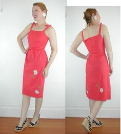 Malia 1970s Red Cotton Sundress with Daisies