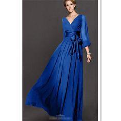 Lantern Sleeve Chiffon Vintage Maxi Dress (Plus Size Available)