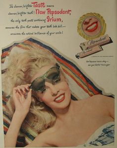 1950s PEPSODENT Toothpaste VINTAGE advertisement Pinup Girl Woman Blonde Beach Model Swimsuit by Christian Montone, via Flickr