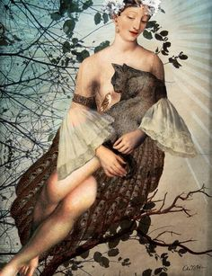 """""""Madonna of the tree"""" Graphic/Illustration by Catrin Welz-Stein posters, art prints, canvas prints, greeting cards or gallery prints. Find more Graphic/Illustration art prints and posters in the AR. Photoshop, Art Du Monde, Image Originale, Photocollage, Pop Surrealism, Wassily Kandinsky, Surreal Art, Cat Art, Madonna"""
