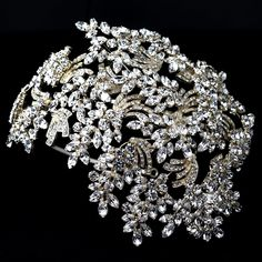 Light Gold Clear Marquise Rhinestone Wired Deco Side Accented Headband http://www.allysonjames.net/item_345/Chic-Antique-Silver-Clear-Crystal-Headpiece.htm