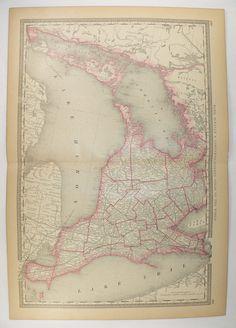 1881 Rand McNally Map Ontario Canada, Western Ontario Map, Lake Huron Lake Ontario Map, Georgian Bay, Vintage Red Decor, Antique Map Canada available from OldMapsandPrints.Etsy.com #OntarioCanadaMap #VintageMapofOntarioCanada #1991RandMcNallyMap #VintageRedDecor
