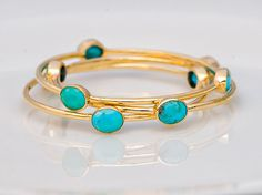 18K Gold Plated Natural Turquoise Bracelet, I want like 6 of these.