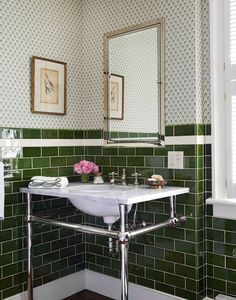 Green subway tile mixed with wallpaper! Design by Tilton Fenwick. Green Subway Tile, Green Tiles, Subway Tiles, Downstairs Toilet, Bathroom Wallpaper, Paint Wallpaper, Bathroom Hardware, Bathroom Faucets, Modern Bathroom