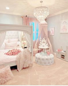 Gorgeous beautiful princess room The pink bedroom look is perfectly pulled of. Gorgeous beautiful princess room The pink bedroom look is perfectly pulled off. This awesome bedroom is a sight to behold. Cute Bedroom Ideas, Cute Room Decor, Girl Bedroom Designs, Awesome Bedrooms, Girls Room Design, Nursery Ideas, Baby Girl Bedroom Ideas, Design Bedroom, Girl Nursery