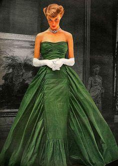 Taffeta ballgown by Adrian. Vogue November 1948