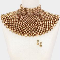 CLEOPATRA QUEEN PEARL BEADS COLLAR CHOKER BIB NECKLACE GOLD EGYPTIAN WEDDING  #Unbranded